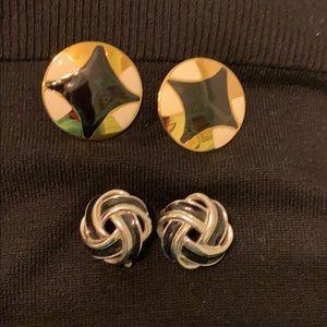 Vintage Monet and Trifari clip earrings